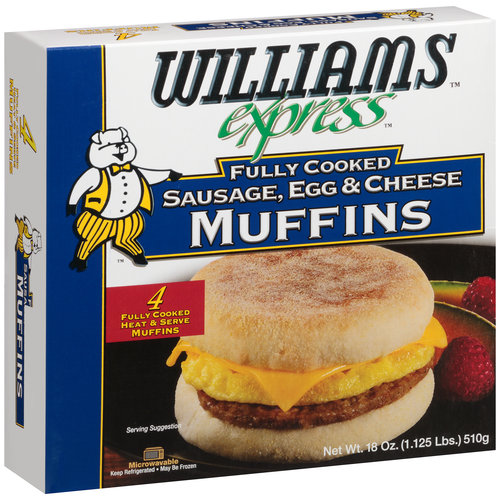 Williams Express Fully Cooked Sausage, Egg & Cheese Muffins, 18 oz
