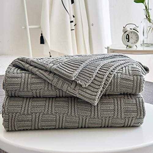 Cotton Cable Gray Knit Throw Blanket For Couch Chairs Bed Beach Home Decorative Grey 50 X 60 Inch Gift A Washing Bag