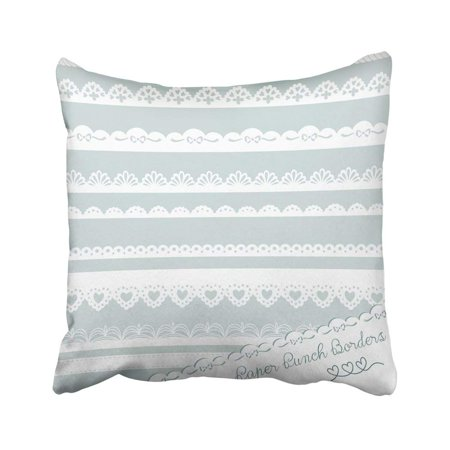 Hand Punched Hearts (ARTJIA Wedding Of Hand Drawn Lace Punch Borders Ribbon Edge Cutout Heart Floral Retro Stripe Pillowcase Throw Pillow Cover Case 18x18)