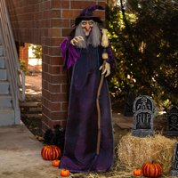 Best Choice Products 5ft Standing Witch, Wicked Wanda Poseable Halloween Animatronic with Pre-Recorded Phrases, LED Eyes