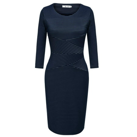 3/4 Sleeve Women High Waist Striped Patchwork Bodycon Dress HITC