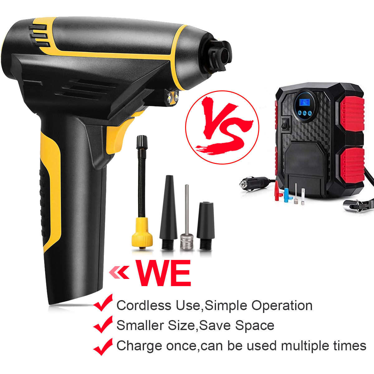 831093eb3a43 Automatic Cordless Air Compressor,Aiskki 2 IN1 Portable Hand Held ...