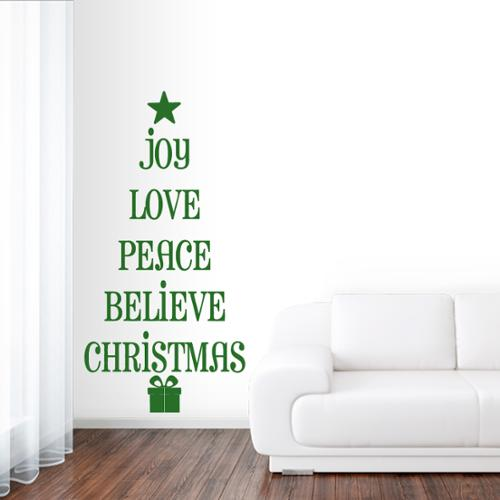Sweetums Christmas Tree Words Wall Decal 40 inches wide x 80 inches tall