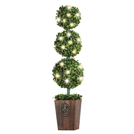 Lighted 3-Tier Boxwood Topiary with Faux Wooden Planter - For Indoor or Outdoor Decorative Accent