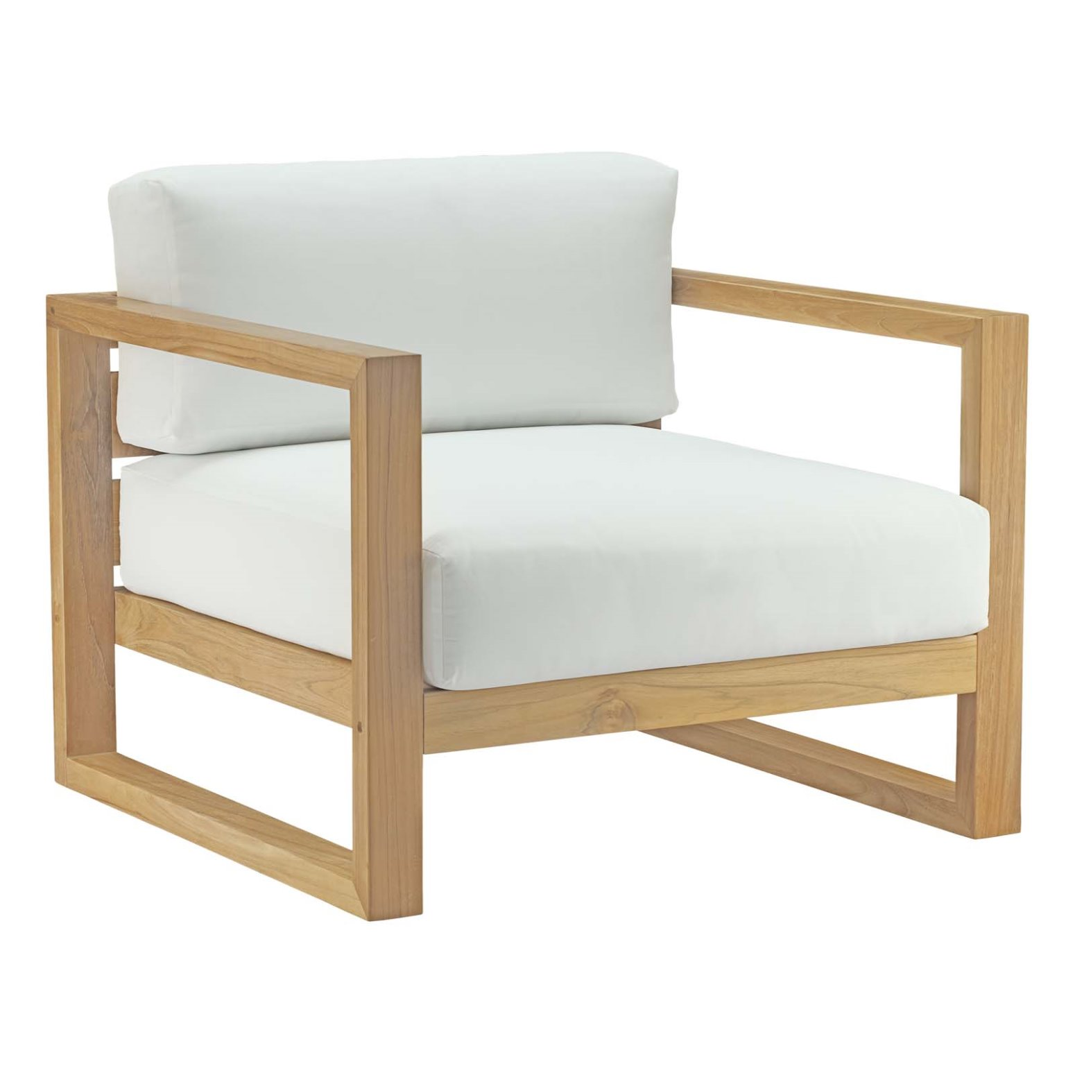 Modern Contemporary Urban Design Outdoor Patio Balcony Lounge Chair, White, Wood