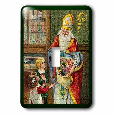 3dRose Santa Holding Toys Children Looking Up in Mosaic Tiles Texture Image, Single Toggle Switch