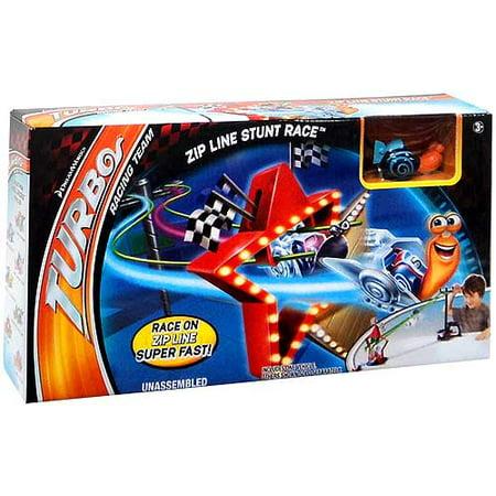 Non Turbo Race - Turbo Zip Line Stunt Race Track Set