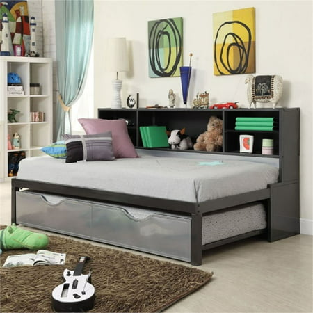 Bowery Hill Twin Bookcase Bed With Trundle In Black And