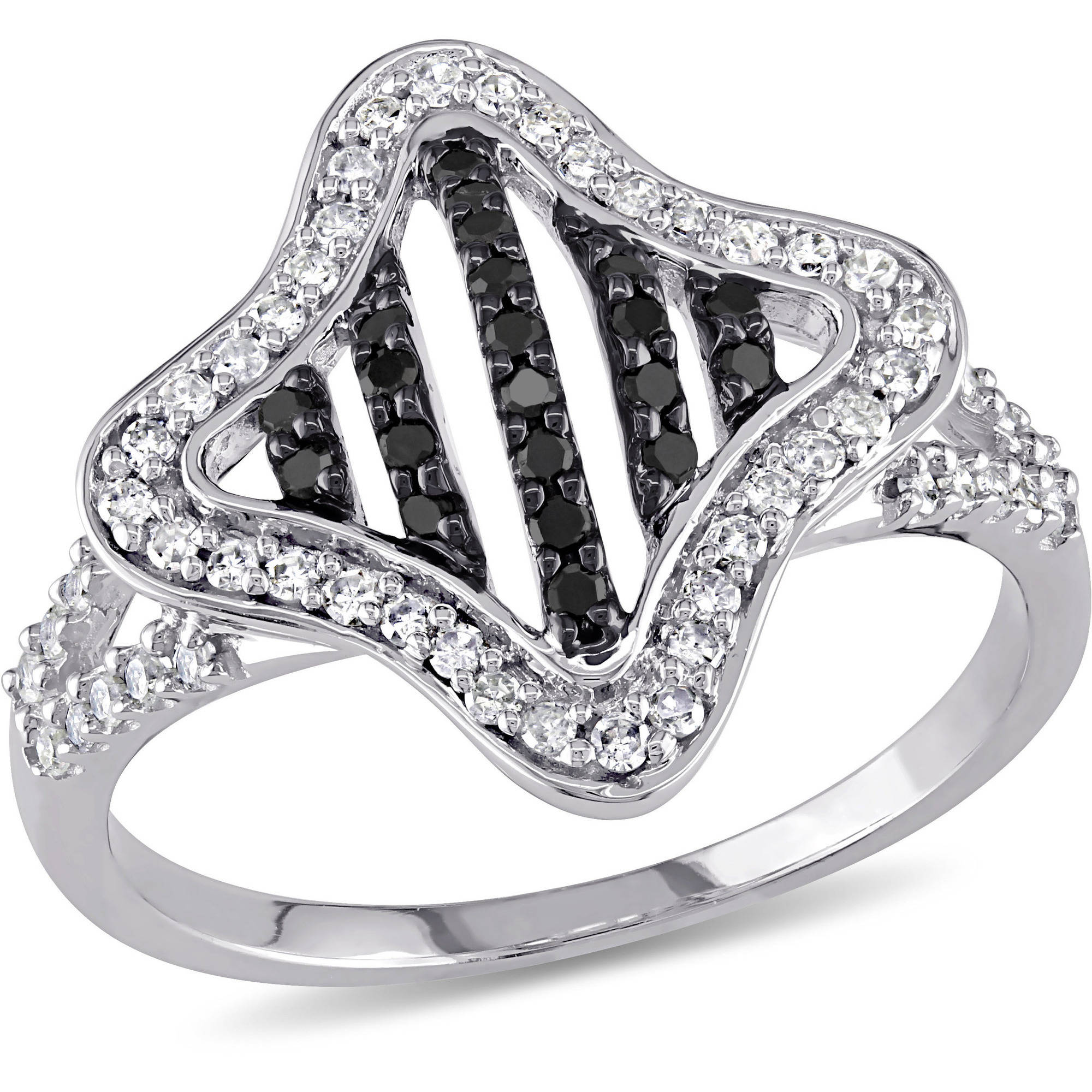 3/8 Carat T.W. Black and White Diamond 10kt White Gold Cocktail Ring
