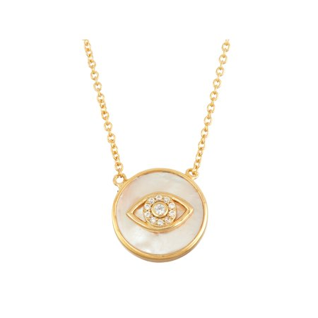 White Cubic Zirconia Evil Eye and Mother of Pearl 18kt Gold over Sterling Silver Circle Necklace, 18