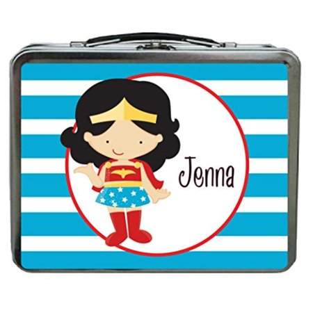 Blue Striped Super Woman Personalized Aluminum Lunch Box (Aluminum Lunch Box)