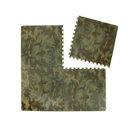 Tadpoles XL Camouflage Print Foam Play Mat Set, 4 Pieces ()
