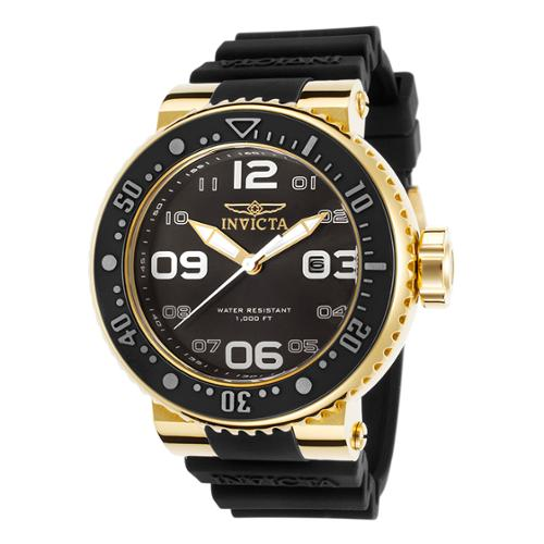Invicta 21521 Men's Pro Diver Black Silicone And Dial Gold-Tone Case Watch