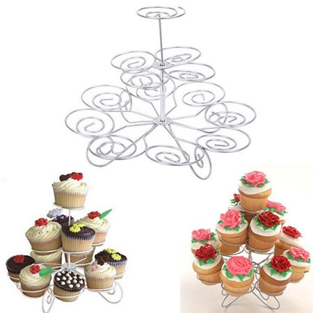 3 Tier Metal Cupcake Stand Holder Tower Wedding Party Dessert Carrier - Decorative Cupcake Holders