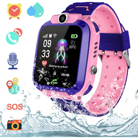 LNKOO Kids Waterproof Smartwatches,AGPS Tracker SOS Call Voice Chatting Two Way Call Smart Watch Phone with Games Touch Screen for Children 3-12 Girls Boys Christmas Birthday Gift-Pink ()