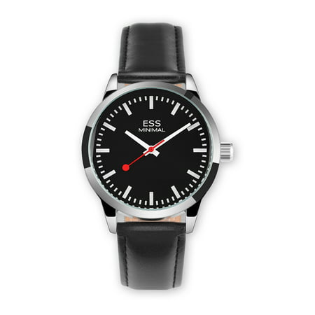 (ESS Minimal Mechanical Wrist Watch Silver Case Black Dial Leather Strap Mens)