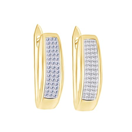 Princess Shape White Cubic Zirconia Hoop Earring In 14k Yellow Gold Over Sterling Silver 0 50