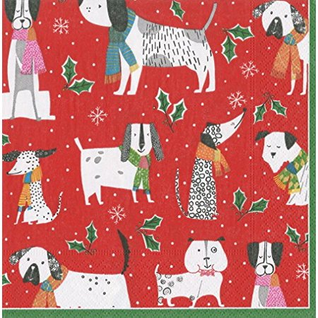 Entertaining with Caspari 14130C Christmas Canines Paper Napkins, Cocktail, Gold