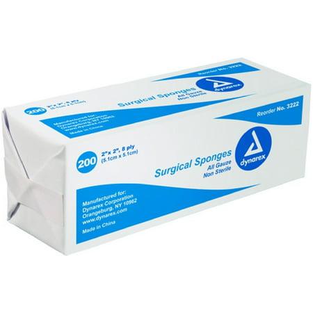 Dynarex Gauze Sponges - Dynarex Gauze Sponge Non-Sterile 3X3 12PLY 200 ea