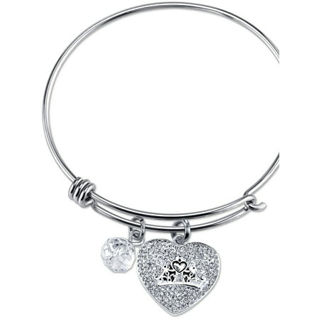 Women's Stainless Steel A Heart Full Of Dreams Crystal Heart Crown and 8mm Clear Bead