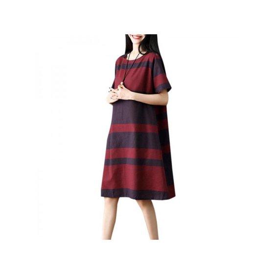 b6da274e475 Ladies Women Stripes Cotton linen Dresses Short Sleeve Long Maxi Dress  Casual Loose Summer Dresses