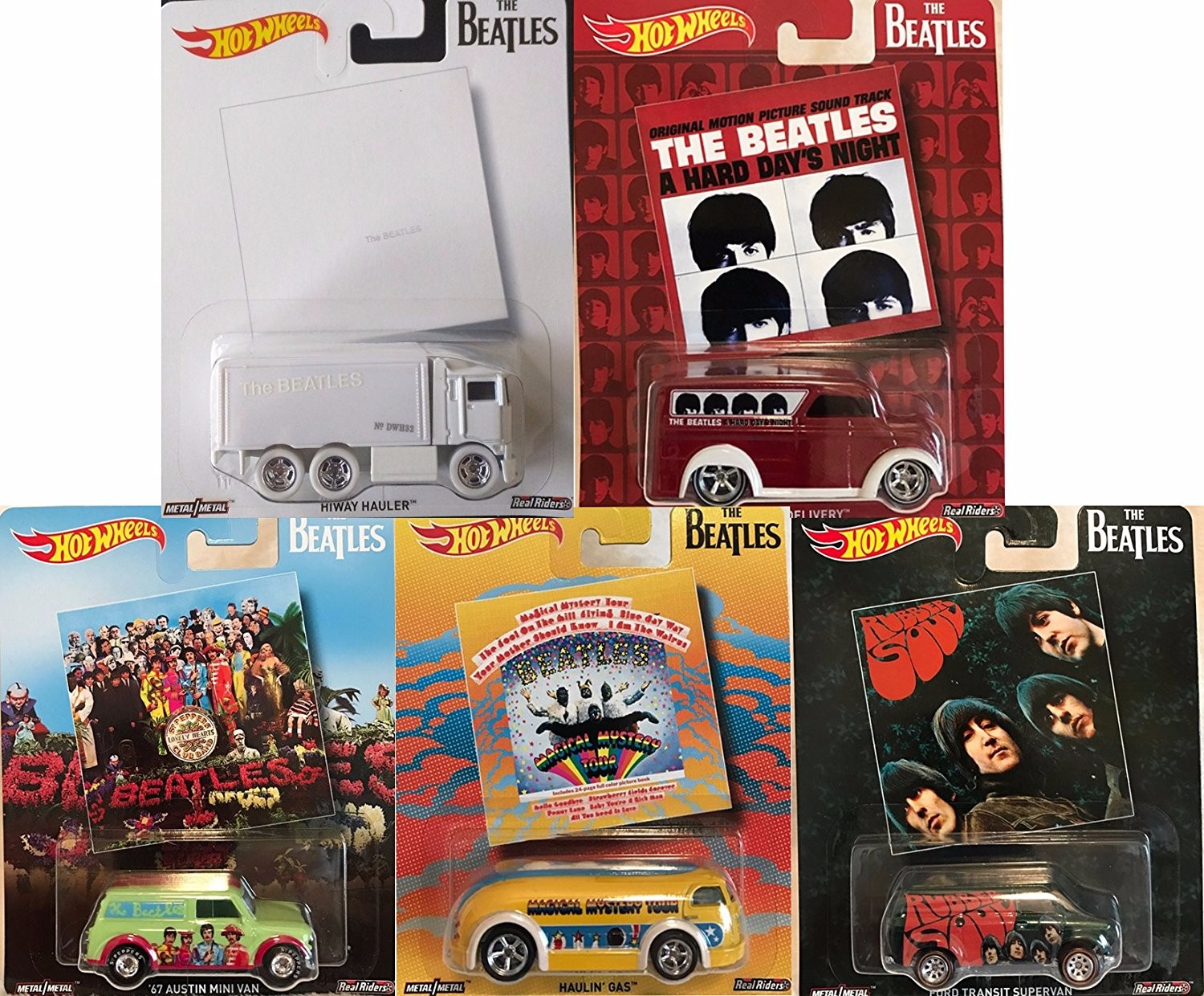 Hot Wheels Pop Culture The Beatles, Premium Adult Collectible Diecast Cars, Set of 5 by