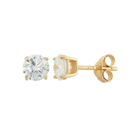 White CZ 18kt Gold over Sterling Silver Round Stud Earrings, 6mm