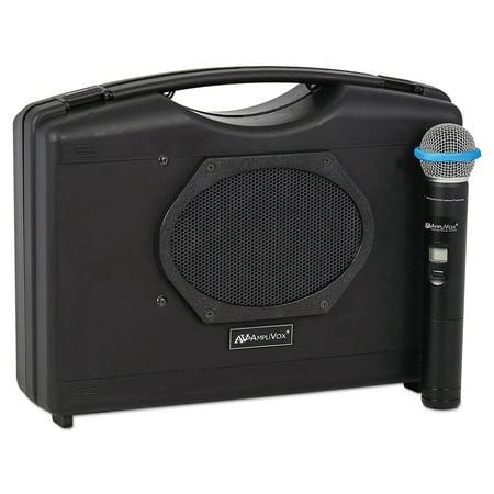 Amplivox Wireless Portable Buddy - AmpliVox Bluetooth Audio Portable Buddy with Wireless Handheld Mic, 50W, Black