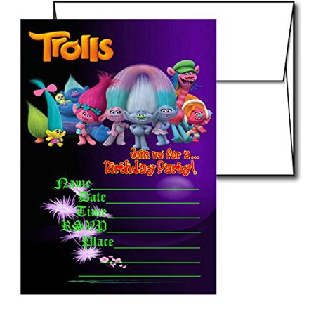 12 TROLLS Birthday Invitation Cards White Envelops Included