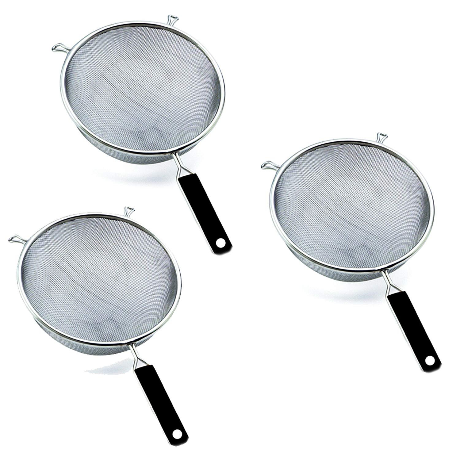 "Wideskall® 5.5"" Stainless Steel Mesh Strainer Colander Basket with Handle Cookware, Pack of 3"