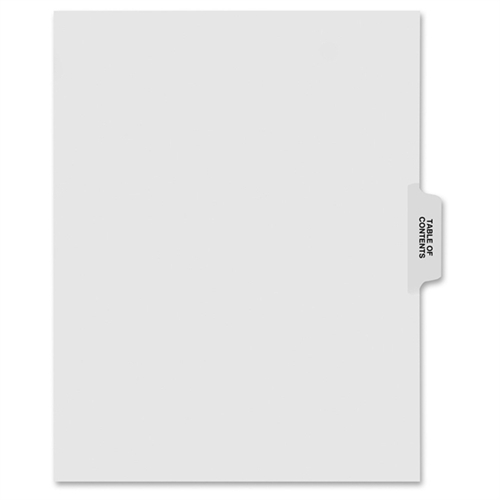 """80000 Series Dividers, 1/5 Cut Center Tabs, """"Table of Contents"""", 25/Pack"""