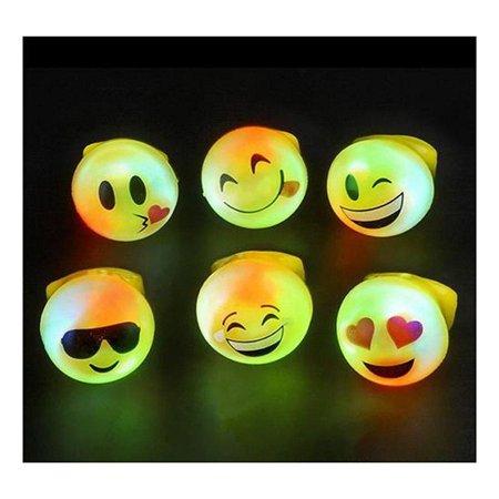 12 LED LIGHT UP FLASHING EMOJI RINGS EMOTICON JELLY RING PARTY BAG FILLERS](Light Up Jelly Rings)