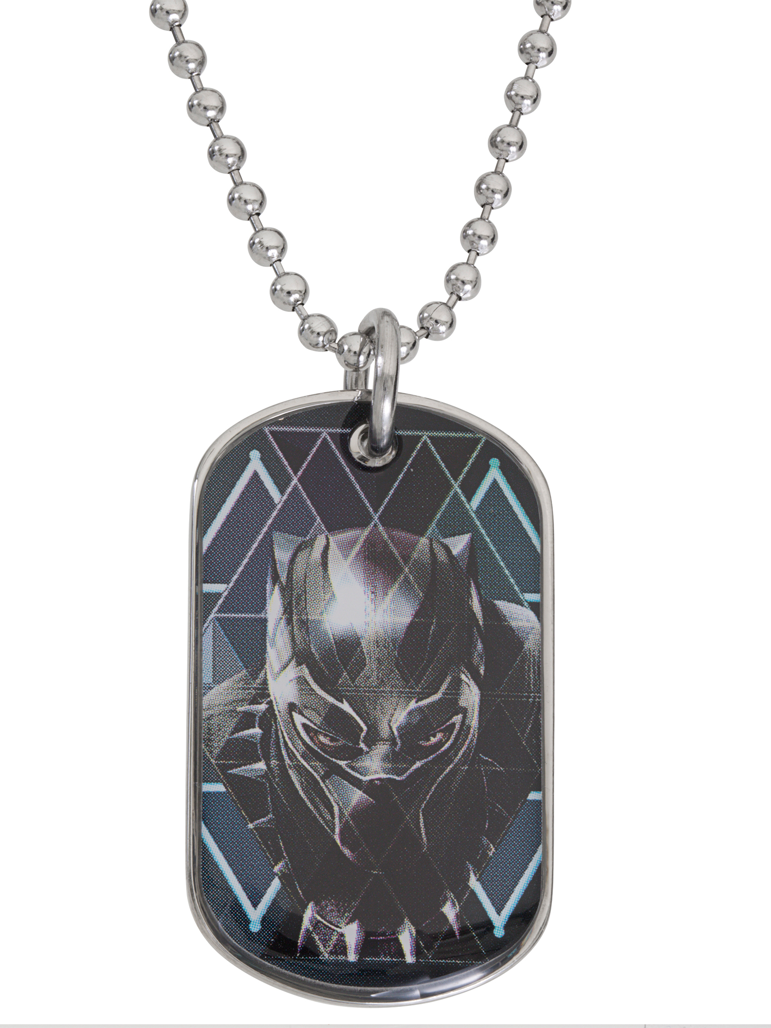 Black Panther Boys Stainless Steel Dog Tag Pendant, 20