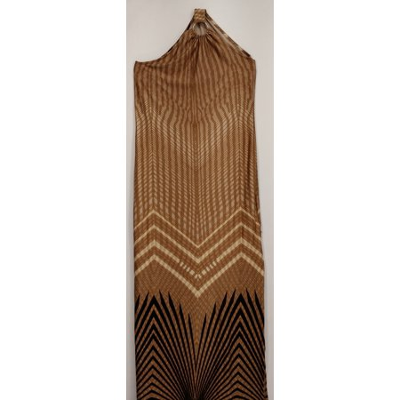 Vanessa Williams Dress Sz S Printed Maxi Ring Trim Brown Womens A426289 (Vanessa Williams Halloween)