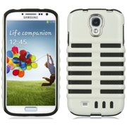 LUXMO WHITE BLACK SKELETON MICROPHONE HYBRID CASE COVER FOR SAMSUNG GALAXY S4 IV
