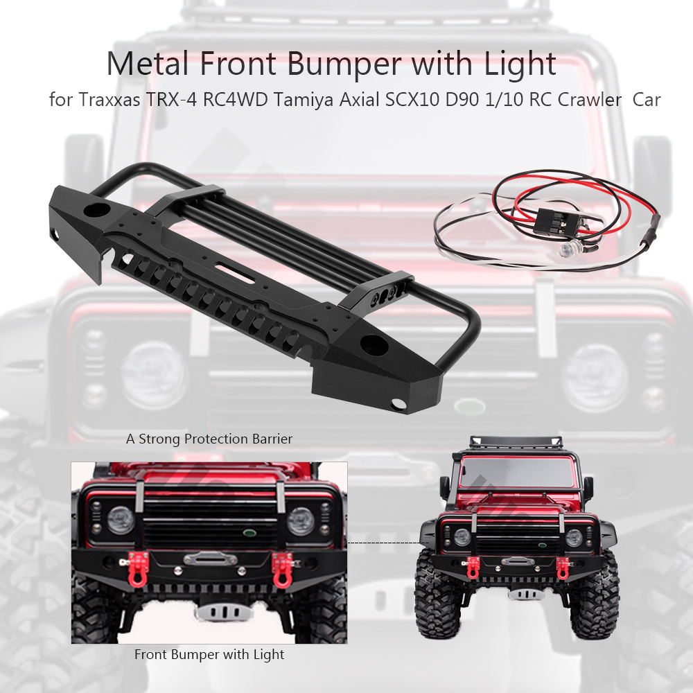 Metal Front /& Rear Bumper set w// LED Light for Axial SCX10 Crawler Truck Car
