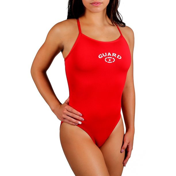 Adoretex Women's Guard Cross Back One-Piece Swimsuit in Red, Size 38