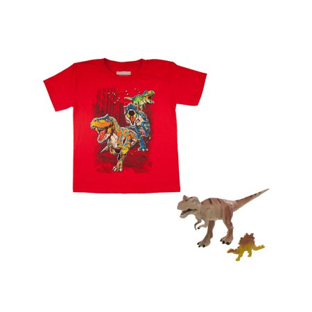 Boys' Tyrannosaurus Rex Red Short Sleeve Graphic Tee With T-Rex Toy Gift With Purchase - Communion Gift For Boy