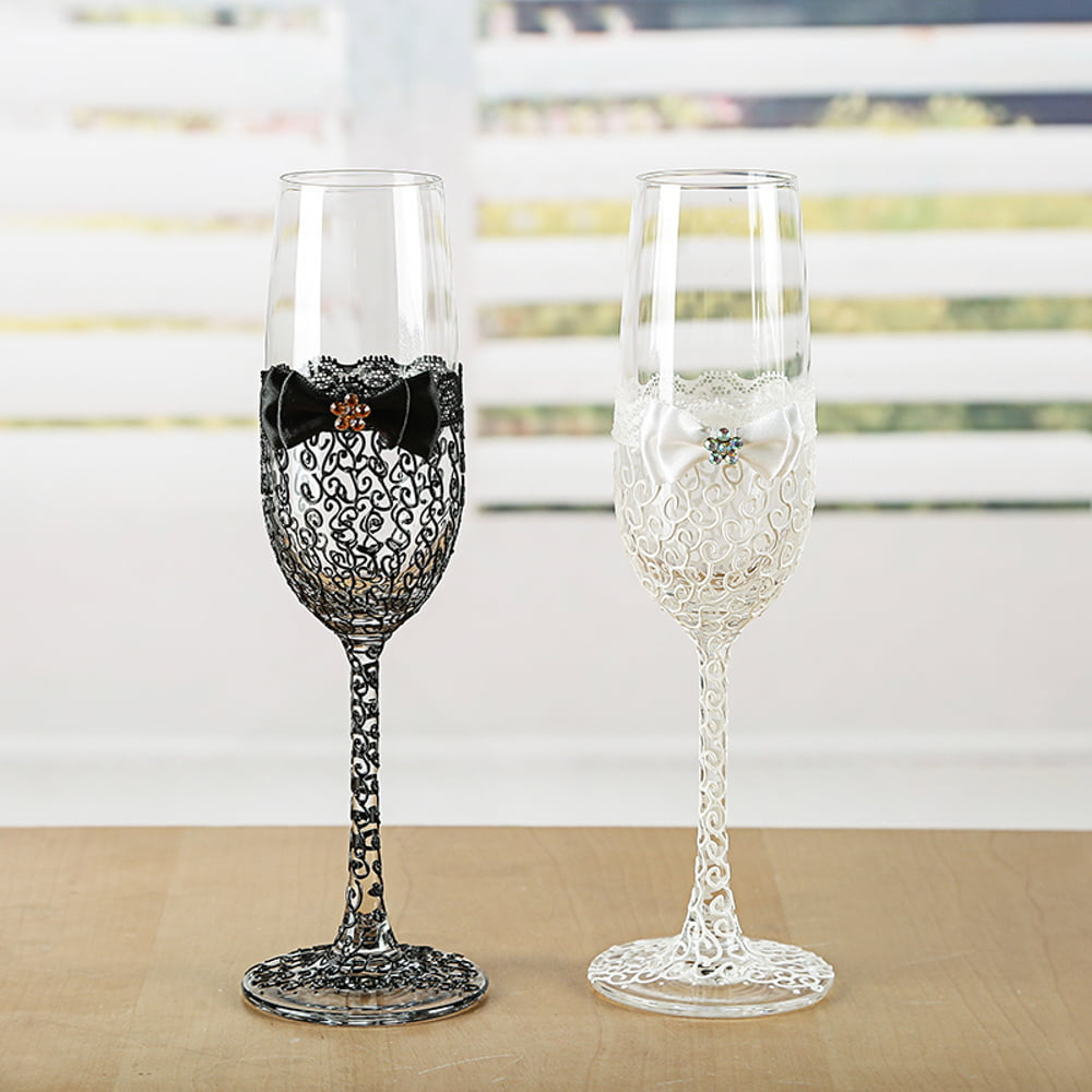 Wedding Gift Champagne Flutes: Wedding Champagne Glasses With Hand Painted Lace Pattern