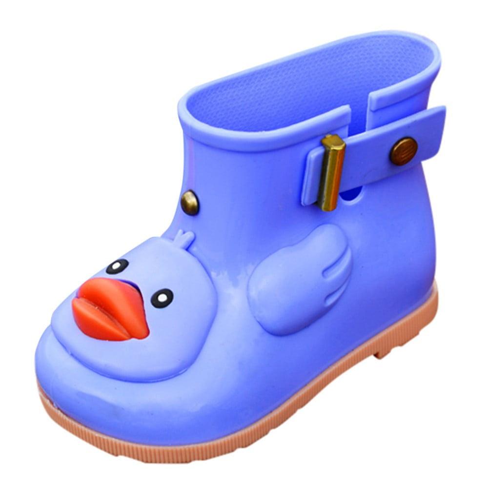 Mosunx Infant Kids Children Baby Cartoon Duck Rubber Waterproof Boots Rain Shoes