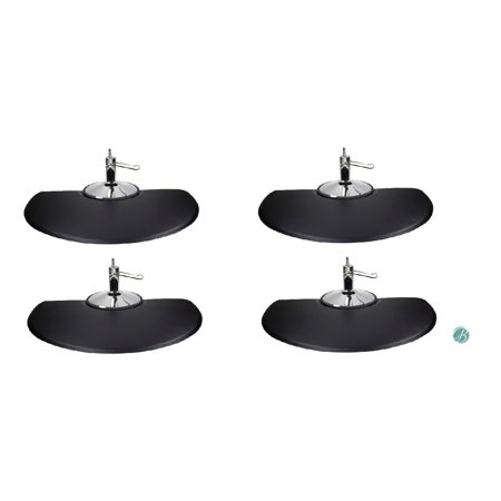 Berkeley Semi Circle Salon Mat 3' x 5' (Set of 4) BLACK Anti-fatigue Mat for Salon or Barber Shop ()