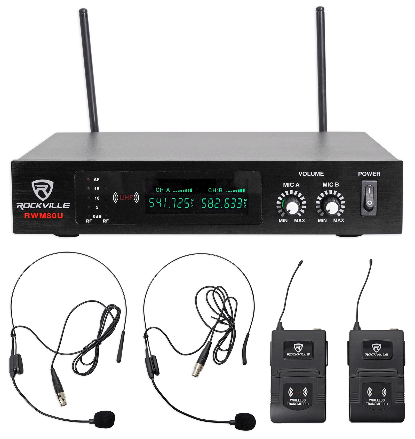 Rockville RWM80U Dual UHF Headset & Guitar Wireless Microphone System w LCD by ROCKVILLE
