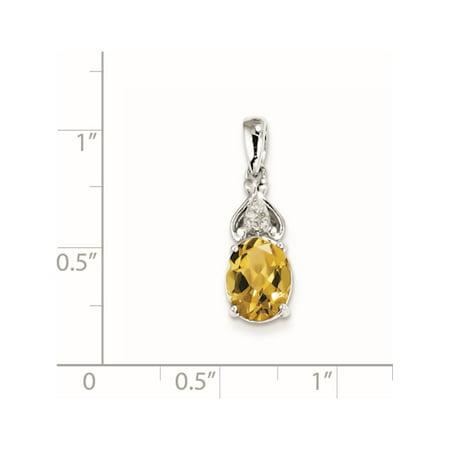 925 diamants et quartz whisky rhodi? argent sterling (7x16mm) Pendentif / Breloque - image 2 de 2