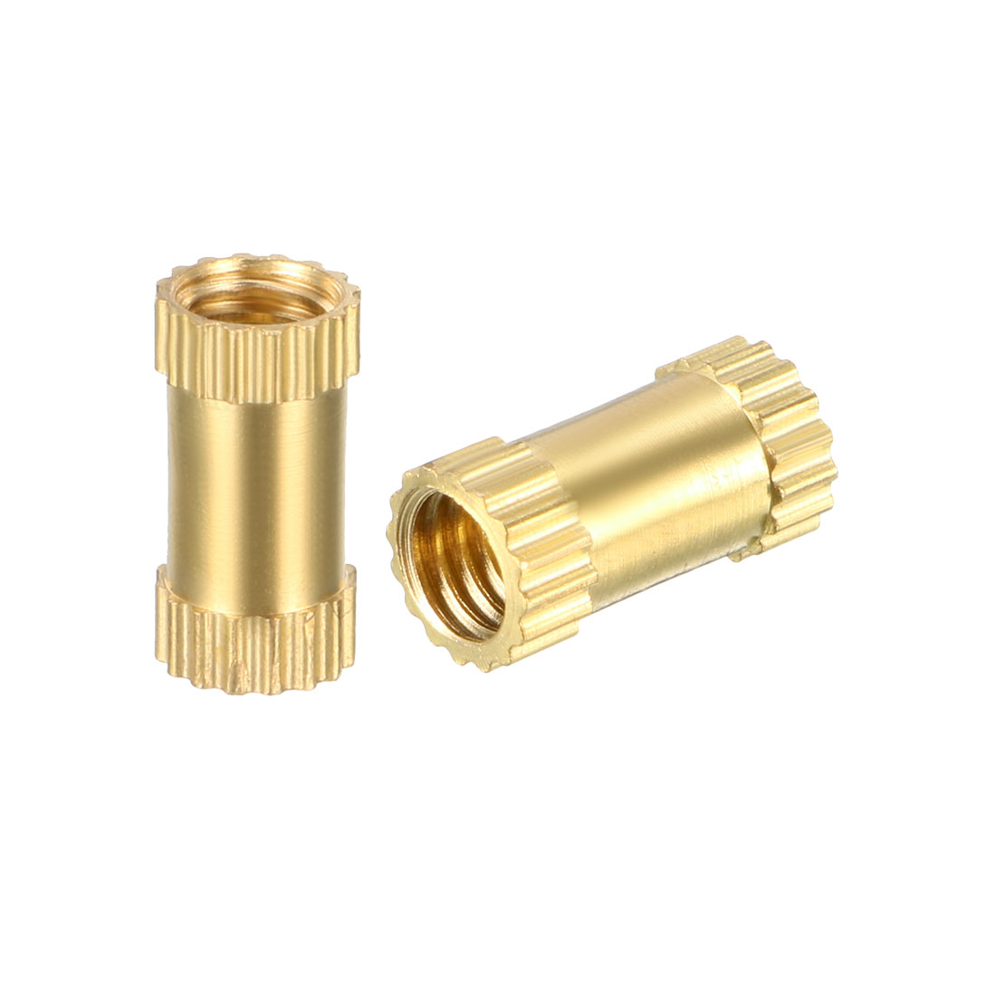 M4 x 10mm(L) x 5mm(OD) Brass Knurled Threaded Insert Embedment Nuts, 100 Pcs - image 3 de 3