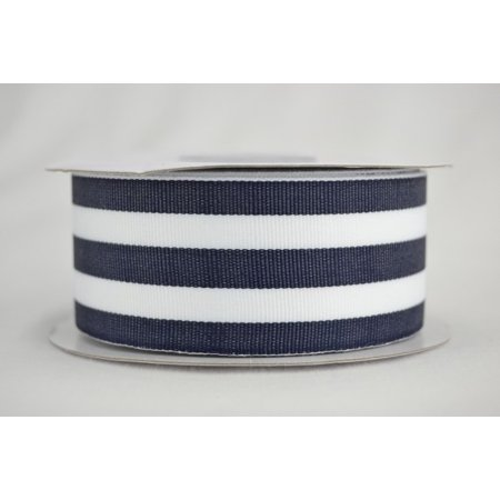 Ribbon Bazaar Grosgrain Value Stripes 1-1/2 inch Blue Charcoal 20 yards 100% Polyester Ribbon (Striped Ribbon)