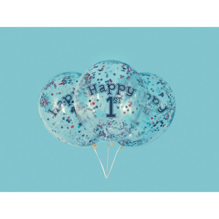 Little Sailor Nautical First Birthday Clear Latex Balloons with Confetti 12