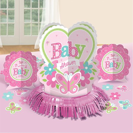 Baby Girl Party Supplies (Welcome Little One Girl Table Decorating Kit (Each) - Baby Shower Party)