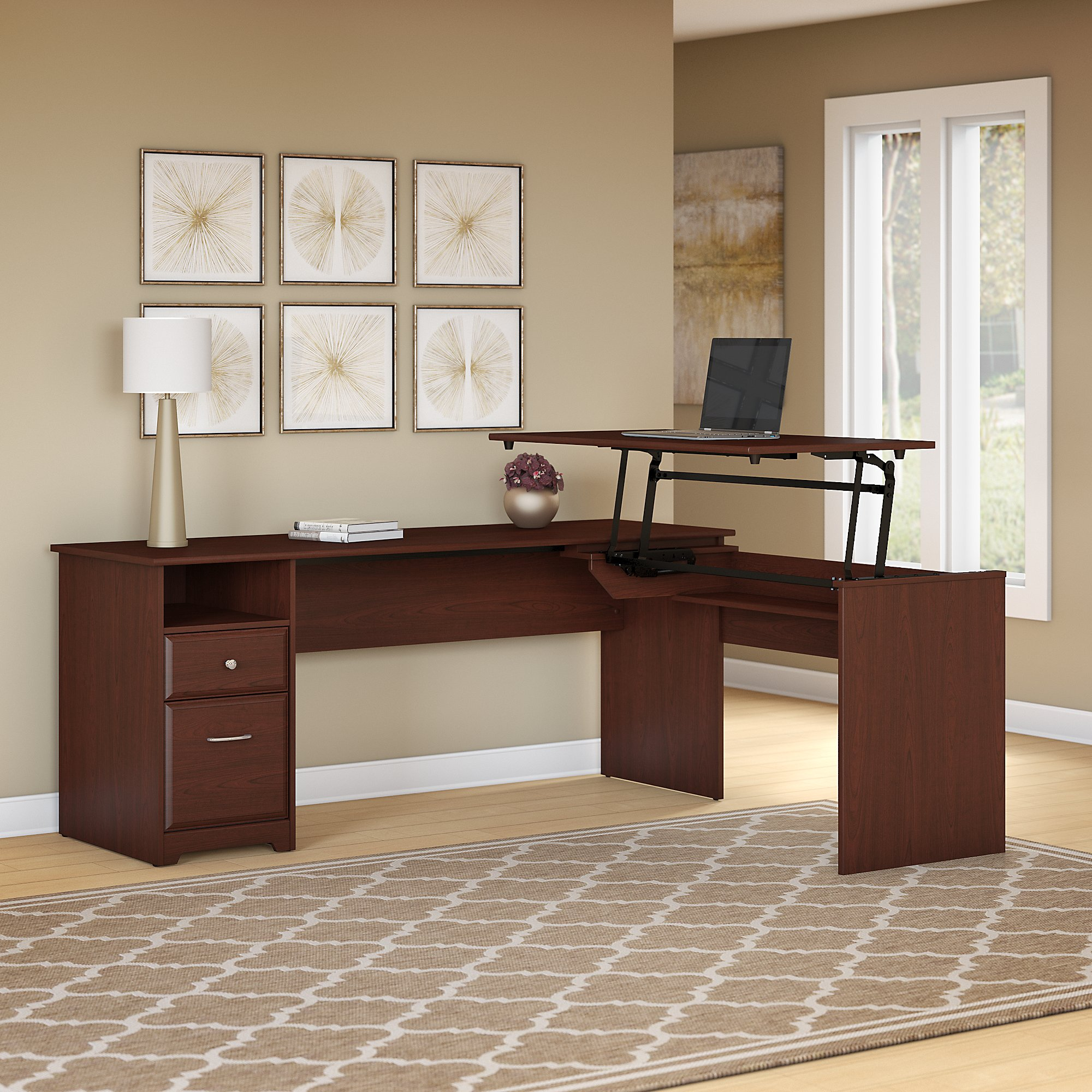 Bush Furniture Cabot 72W 3 Position L Shaped Sit to Stand ...