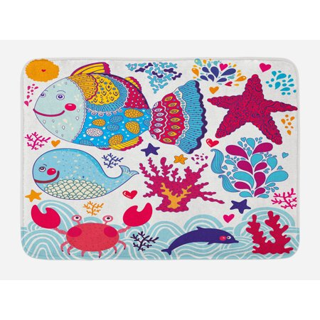 Fish Bath Mat, Fish Motifs with Ethnic Tribal Effects and Starfish Crab Dolphin Animals Boho Design, Non-Slip Plush Mat Bathroom Kitchen Laundry Room Decor, 29.5 X 17.5 Inches, Multicolor, Ambesonne