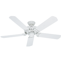 """Hunter 52"""" Bridgeport White Ceiling Fan with Pull Chain"""